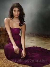 wedding photo - Violet Chiffon Strapless Bridesmaid Gown with Draped Band