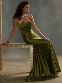 wedding photo - Olive Strapless Modified A-line Floor Length Bridesmaid Gown