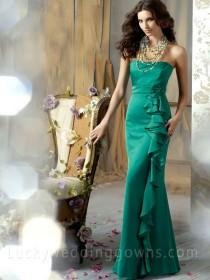 wedding photo - Green Strapless Long Bridesmaid Gown with Ruffle Cascade Skirt