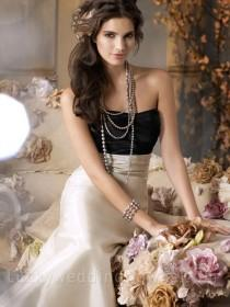 wedding photo - Taupe Satin-faced Taffeta Strapless Long Bridesmaid Dress