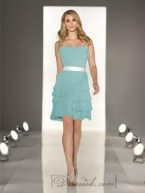 wedding photo - Strapless A-line Cascading Ruffled Coctail Bridesmaid Dresses with Layered Bodice