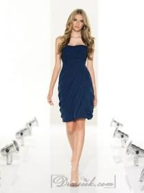 wedding photo - Strapless Criss Cross Cocktail Bridesmaid Dresses with Asymmetrical Draped Bodice