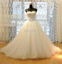 wedding photo - Cheap Wedding Dress - Discount Strapless Sequins Net Wedding Dress with Beaded Crystal Online with $104.82/Piece