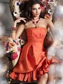 wedding photo - Pumpkin Strapless A-line Knee-length Bridesmaid Dress