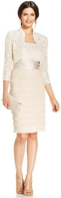 wedding photo - Jessica Howard Sequin-Lace Tiered Sheath and Jacket