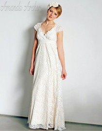 wedding photo - Ivory Lace Wedding Gown With Cap Sleeves, Made To Order