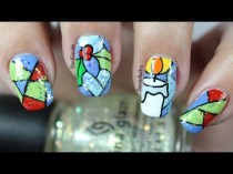 wedding photo - Christmas Nail Art *stained Glass*
