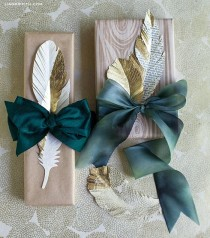 wedding photo - DIY Gold Paper Feathers