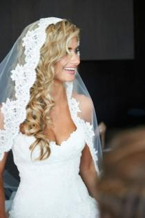 wedding photo - Wedding Veil - Cathedral Length Mantilla With Vintage French Alencon Lace