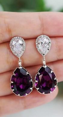 wedding photo - Amethyst Swarovski Crystal Tear Drop Earrings