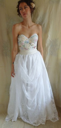 wedding photo - Meadow Bustier Wedding Gown... Dress Boho Whimsical Woodland Country Vintage Inspired Embroidery Free People Lace Boho Corset Eco Friendly