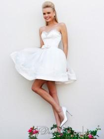 wedding photo - Short Strapless Beaded Sweetheart Babydoll Prom Dresses
