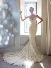 wedding photo - Fashionable Trumpet/Mermaid V-neck Sleeveless Beading Chapel Train Lace Wedding Dress