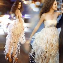 wedding photo - Strapless Draped High Low Tassels Prom Dress / Evening Dress