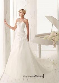 wedding photo - Beautiful Organza Satin A-line V-neck Natural Waist Ruched Beaded Wedding Dress With Handmade Flowers and Lace Appliques