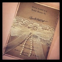 wedding photo - Lace And Pearl Hand Made Invitation - Wedding/Shower Invitations