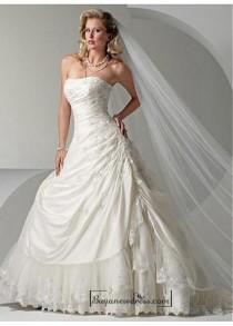 wedding photo - Beautiful Elegant Exquisite Strapless Taffeta Wedding Dress In Great Handwork