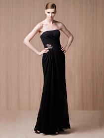 wedding photo - Strapless Black Low Back Floor Length Evening Dress