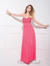 wedding photo - Watermelon Strapless Beaded Sweetheart Long Prom Dresses