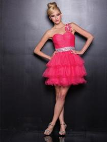 wedding photo - Pink One Shoulder Tulle Short Prom Dresses with Empire Waist