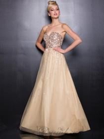 wedding photo - Gold Sweetheart Sequin Prom Dresses with A-line Tulle Skirt
