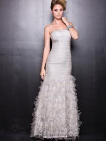 wedding photo - Strapless Silver Tulle Long Prom Dresses with Layers Skirt