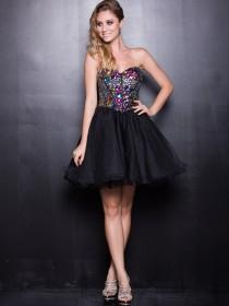 wedding photo - Black Strapless Sweetheart Beaded Short Prom Dresses with A-line Layers Skirt