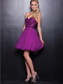 wedding photo - Strapless Sweetheart Sequin Short Prom Dresses with A-line Skirt