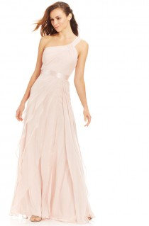 wedding photo - Adrianna Papell Petite One-Shoulder Tiered Chiffon Gown