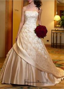 wedding photo - Beautiful Elegant Satin & Lace A-line Strapless Wedding Dress In Great Handwork