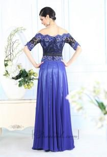 wedding photo - Off-the-shoulder Beaded Lace Appliques Blue Prom Dress