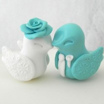 wedding photo - Love Bird Wedding Cake Topper, Tiffany Blue And White, Bride And Groom Keepsake