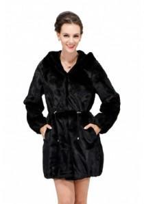 0e8e1e7a586d Black faux fur jacket or faux mink fur hooded coat