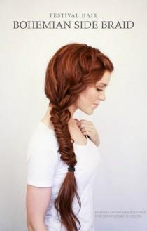 wedding photo - Bohemian Side Braid Festival Hair Tutorial