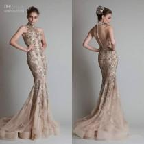 wedding photo - Discount Sexy See Through Evening Dresses Organza Button Back Sheath Mermaid Elie Saab Formal/Prom Party Dresses With High Neck Silver Appliques Online with $141.1/Piece on Hjklp88's Store