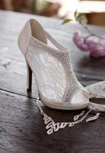 wedding photo - Wedding & Bridesmaid Shoes Lace High Heel Shootie With Flatback Crystals Style AYAEL9