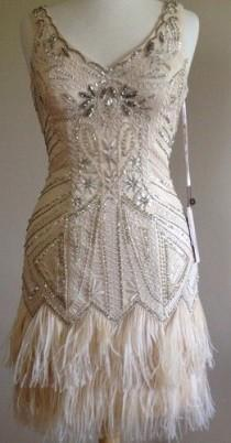 bd6b410de2474 SUE WONG 1920's Gatsby Deco Champagne Beaded Feather Bridal Flapper Dress 6