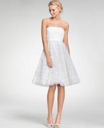 wedding photo - Embroidered Tea Length Strapless Dress