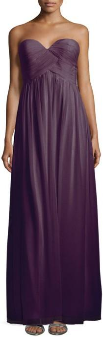 wedding photo - Donna Morgan Laura Strapless Ruched-Bodice Gown, Amethyst