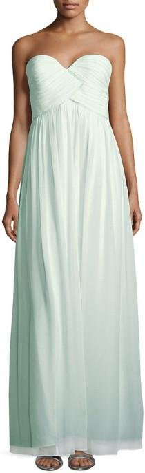 wedding photo - Donna Morgan Laura Strapless Ruched-Bodice Gown, Beach Glass