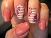 wedding photo - Nail Art: Pink/coral Gelpolish And Striped Nails With Flowers