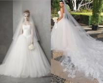 wedding photo - Celebrity Wedding Dress Luxury Hot Sale Actual Images Strapless Lace And Tulle Ball Gown Wedding Dresses Bridal Gowns 2014 Kim Kardashian, $124.4