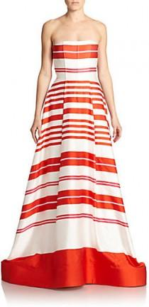 wedding photo - Alice + Olivia Aubrey Strapless Stripe Gown