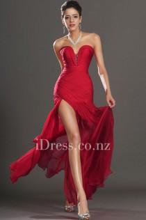 wedding photo - Red Strapless Sweetheart Neck Beaded Slit Ruched Prom Dress