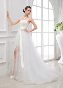 wedding photo - Two Pieces Scalloped Strapless High-low Flare-flowing Princess Bridal Dress