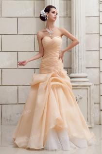 wedding photo - Champagne Organza Strapless Dropped Waist Asymmetrical Ruched Wedding Dress