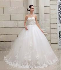 wedding photo - Gorgeous Strapless Handmade Flowers Lace Up Ball Gown Wedding Dress