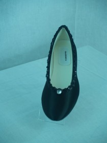 wedding photo - Wedding Flats Shoes Black Satin dressy comfortable