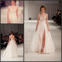 wedding photo - New Elie Saab Dresses Nude Tulle High Slit Prom Gown Online with $111.27/Piece on Hjklp88's Store