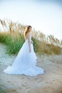 wedding photo - Wedding Dress Romantic Wedding Gown Strapless with Train Vintage One Of A Kind